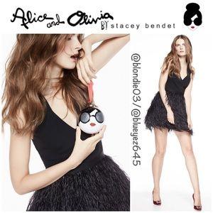 "Alice + Olivia ""Kiara"" black feather dress 2"